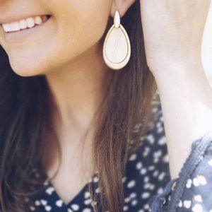 Metal and Wood Tear Drop Earrings